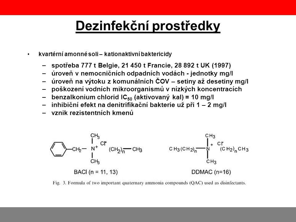 Dezinfekční prostředky •kvartérní amonné soli – kationaktivní baktericidy –spotřeba 777 t Belgie, 21 450 t Francie, 28 892 t UK (1997) –úroveň v nemoc