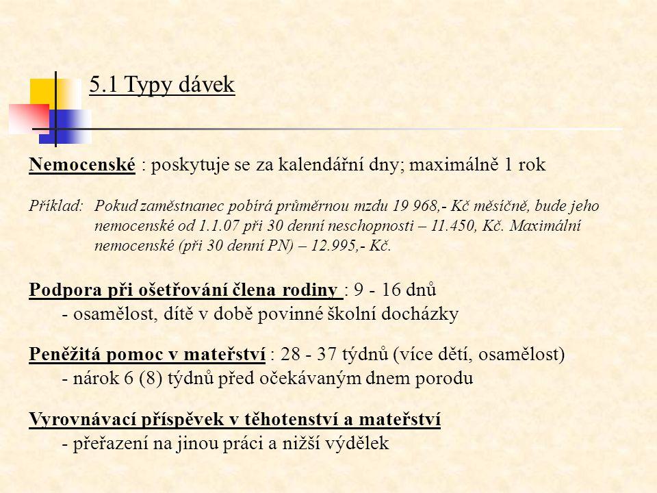 5.1 Typy dávek Nemocenské : poskytuje se za kalendářní dny; maximálně 1 rok Příklad:Pokud zaměstnanec pobírá průměrnou mzdu 19 968,- Kč měsíčně, bude