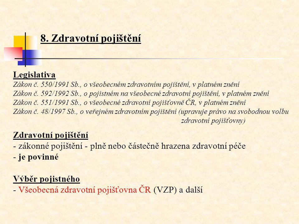 8. Zdravotní pojištění Legislativa Zákon č. 550/1991 Sb., o všeobecném zdravotním pojištění, v platném znění Zákon č. 592/1992 Sb., o pojistném na vše