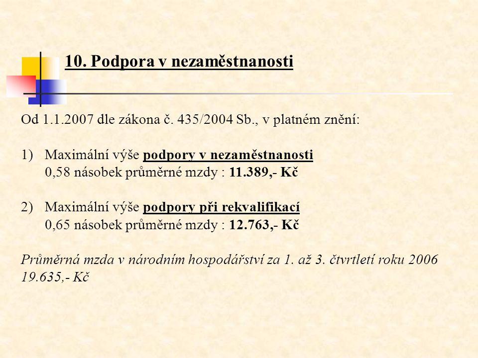 10. Podpora v nezaměstnanosti Od 1.1.2007 dle zákona č. 435/2004 Sb., v platném znění: 1)Maximální výše podpory v nezaměstnanosti 0,58 násobek průměrn