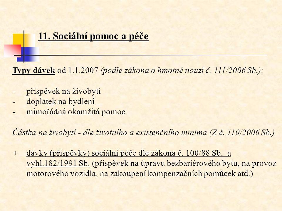Typy dávek od 1.1.2007 (podle zákona o hmotné nouzi č. 111/2006 Sb.): -příspěvek na živobytí -doplatek na bydlení -mimořádná okamžitá pomoc Částka na