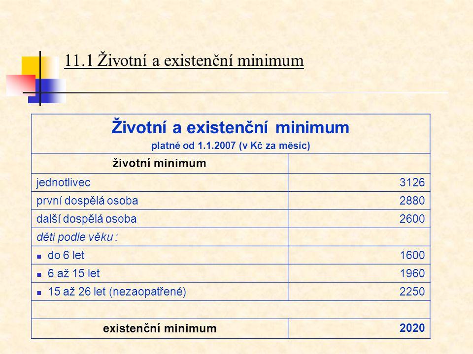 11.1 Životní a existenční minimum Životní a existenční minimum platné od 1.1.2007 (v Kč za měsíc) životní minimum jednotlivec3126 první dospělá osoba2