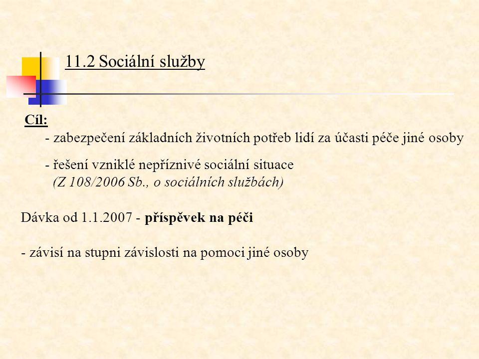 11.2 Sociální služby Cíl: - zabezpečení základních životních potřeb lidí za účasti péče jiné osoby - řešení vzniklé nepříznivé sociální situace (Z 108