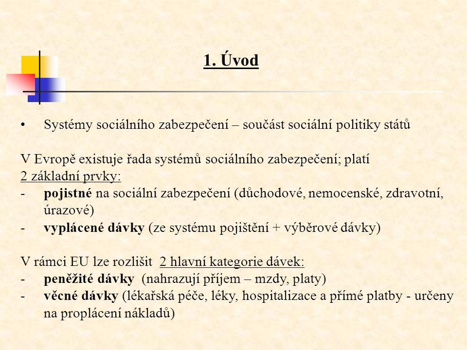 1. Úvod •Systémy sociálního zabezpečení – součást sociální politiky států V Evropě existuje řada systémů sociálního zabezpečení; platí 2 základní prvk