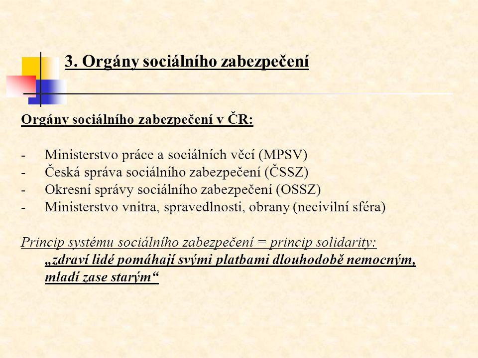 3. Orgány sociálního zabezpečení Orgány sociálního zabezpečení v ČR: -Ministerstvo práce a sociálních věcí (MPSV) -Česká správa sociálního zabezpečení