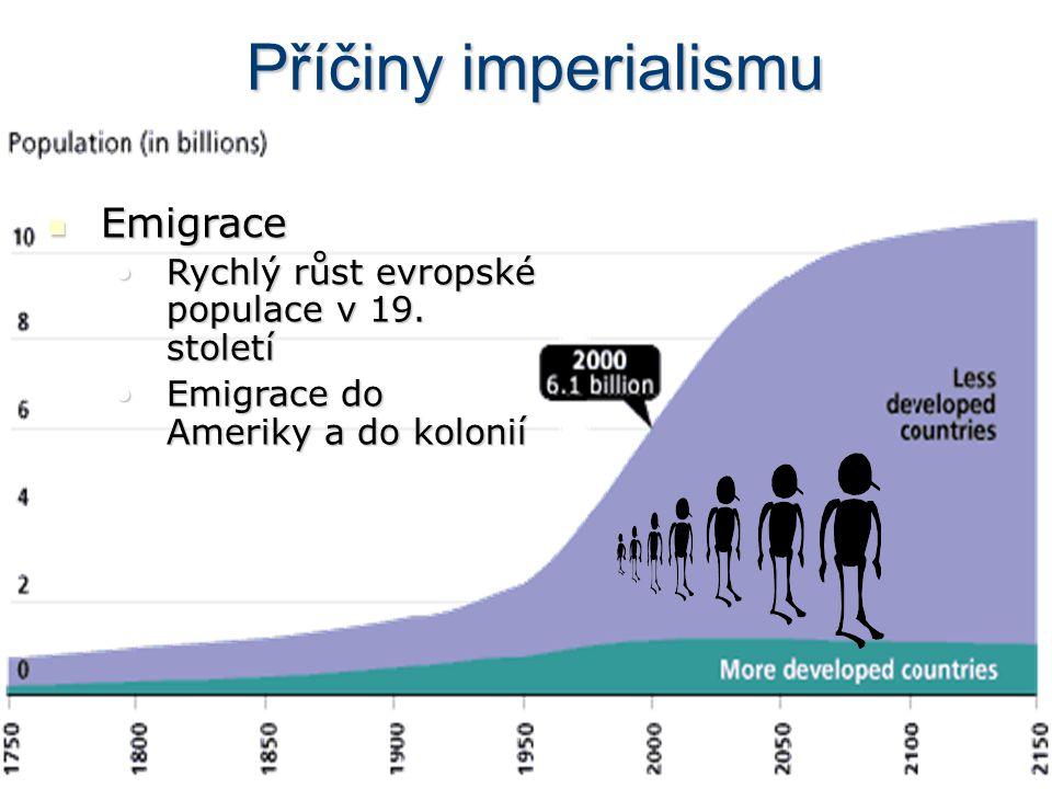 Příčiny imperialismu  Emigrace •Rychlý růst evropské populace v 19. století •Emigrace do Ameriky a do kolonií