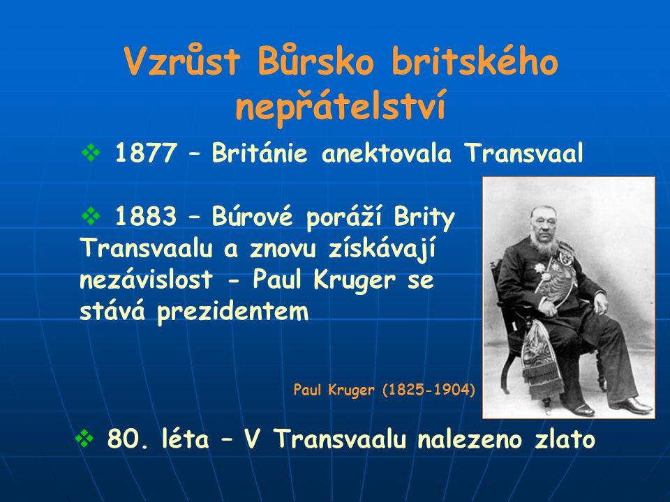 Vzrůst Bůrsko britského nepřátelství  1877 – Británie anektovala Transvaal  1883 – Búrové poráží Brity Transvaalu a znovu získávají nezávislost - Pa