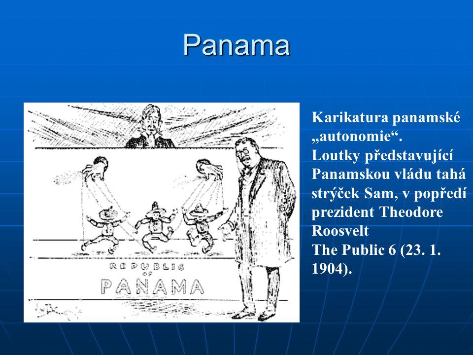 """Panama Karikatura panamské """"autonomie"""". Loutky představující Panamskou vládu tahá strýček Sam, v popředí prezident Theodore Roosvelt The Public 6 (23."""