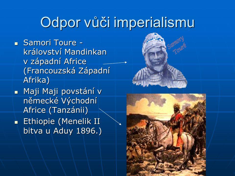 Odpor vůči imperialismu  Samori Toure - království Mandinkan v západní Africe (Francouzská Západní Afrika)  Maji Maji povstání v německé Východní Af