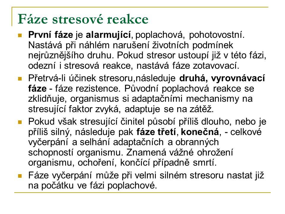Fáze stresové reakce  První fáze je alarmující, poplachová, pohotovostní.