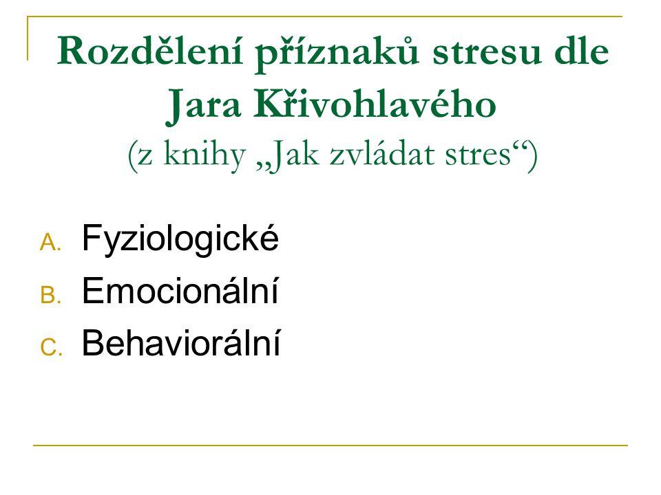 """Rozdělení příznaků stresu dle Jara Křivohlavého (z knihy """"Jak zvládat stres ) A."""