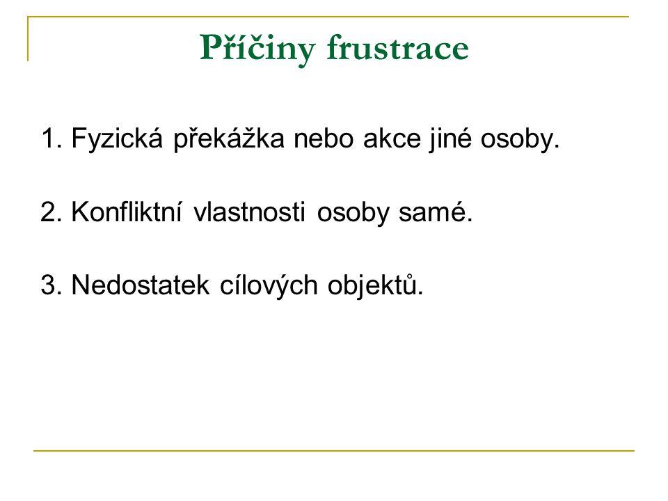 Příčiny frustrace 1.Fyzická překážka nebo akce jiné osoby.