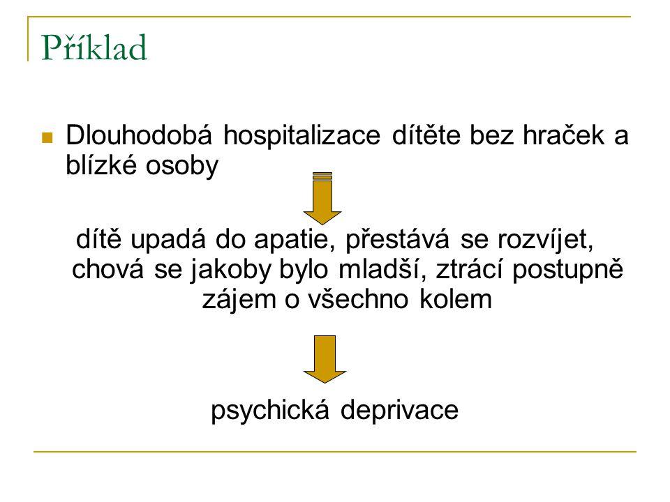 Příklad  Dlouhodobá hospitalizace dítěte bez hraček a blízké osoby dítě upadá do apatie, přestává se rozvíjet, chová se jakoby bylo mladší, ztrácí postupně zájem o všechno kolem psychická deprivace