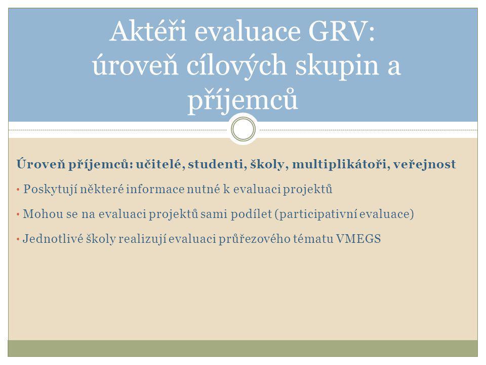 Úroveň příjemců: učitelé, studenti, školy, multiplikátoři, veřejnost • Poskytují některé informace nutné k evaluaci projektů • Mohou se na evaluaci projektů sami podílet (participativní evaluace) • Jednotlivé školy realizují evaluaci průřezového tématu VMEGS Aktéři evaluace GRV: úroveň cílových skupin a příjemců