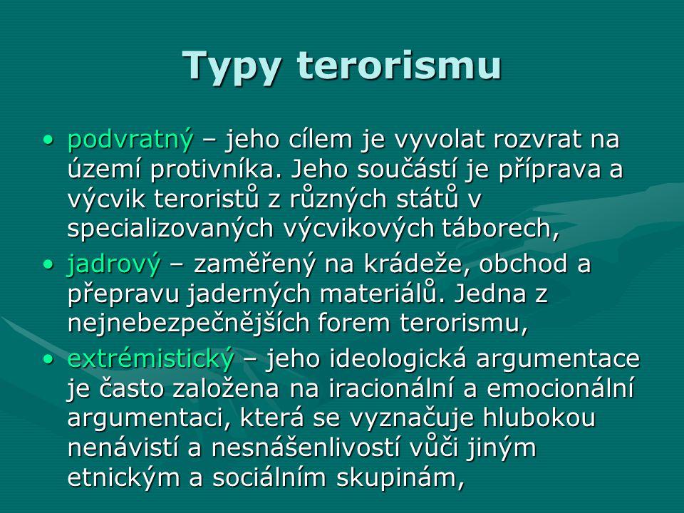 Typy terorismu •podvratný – jeho cílem je vyvolat rozvrat na území protivníka.