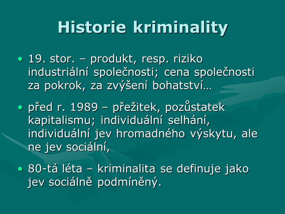 Historie kriminality •19.stor. – produkt, resp.