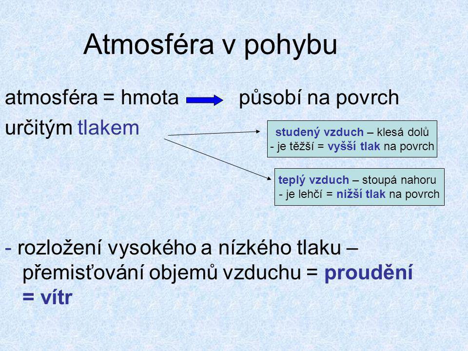 atmosféra = hmota působí na povrch určitým tlakem - rozložení vysokého a nízkého tlaku – přemisťování objemů vzduchu = proudění = vítr studený vzduch