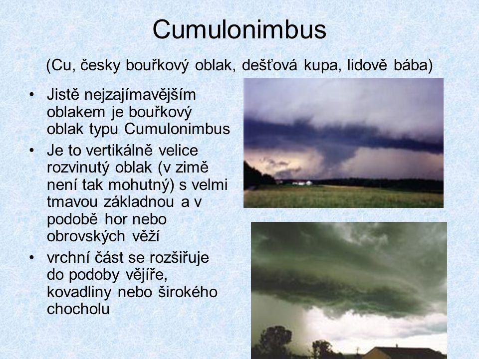 Cumulonimbus (Cu, česky bouřkový oblak, dešťová kupa, lidově bába) •Jistě nejzajímavějším oblakem je bouřkový oblak typu Cumulonimbus •Je to vertikáln