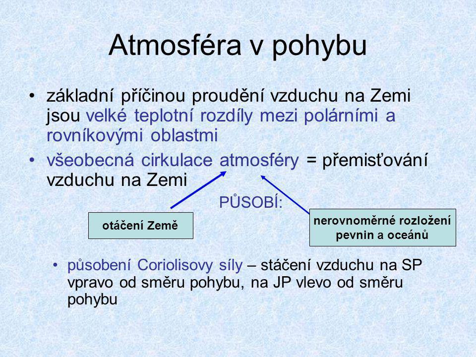 Atmosféra v pohybu •základní příčinou proudění vzduchu na Zemi jsou velké teplotní rozdíly mezi polárními a rovníkovými oblastmi •všeobecná cirkulace