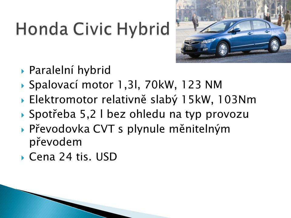  Paralelní hybrid  Spalovací motor 1,3l, 70kW, 123 NM  Elektromotor relativně slabý 15kW, 103Nm  Spotřeba 5,2 l bez ohledu na typ provozu  Převod
