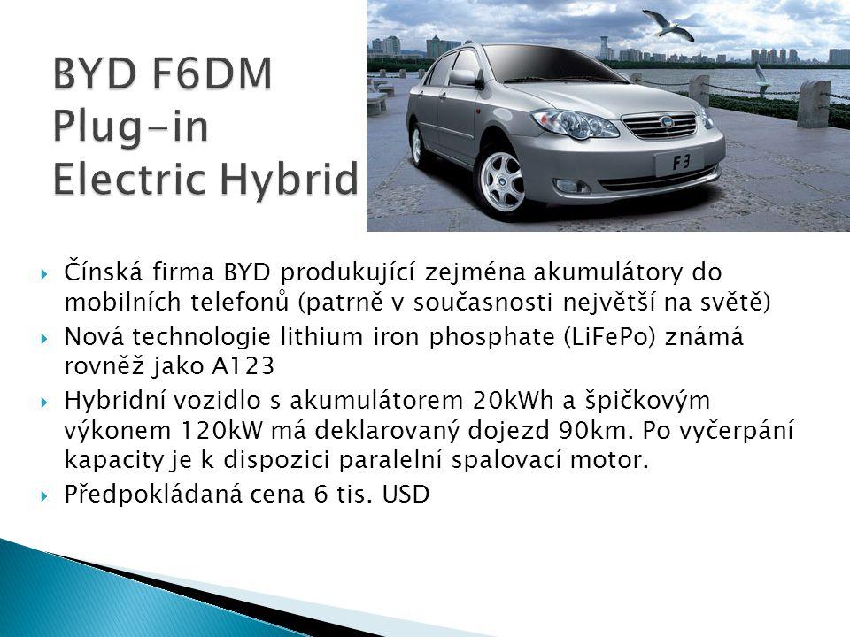  Čínská firma BYD produkující zejména akumulátory do mobilních telefonů (patrně v současnosti největší na světě)  Nová technologie lithium iron phos