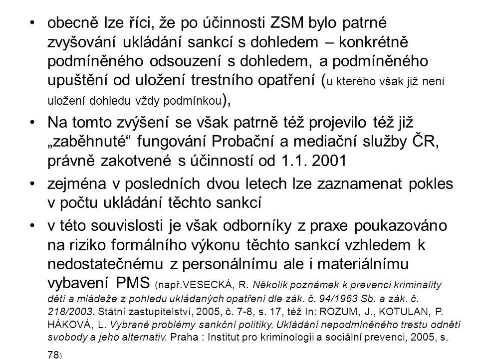"""•obecně lze říci, že po účinnosti ZSM bylo patrné zvyšování ukládání sankcí s dohledem – konkrétně podmíněného odsouzení s dohledem, a podmíněného upuštění od uložení trestního opatření ( u kterého však již není uložení dohledu vždy podmínkou ), •Na tomto zvýšení se však patrně též projevilo též již """"zaběhnuté fungování Probační a mediační služby ČR, právně zakotvené s účinností od 1.1."""