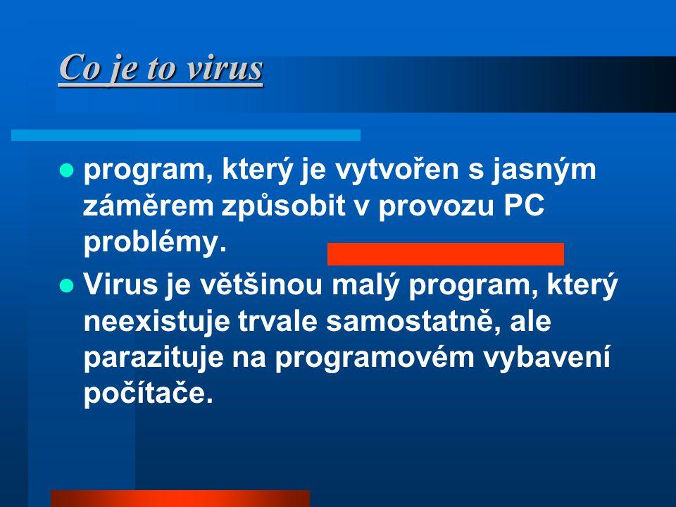 Co je to virus  program, který je vytvořen s jasným záměrem způsobit v provozu PC problémy.  Virus je většinou malý program, který neexistuje trvale
