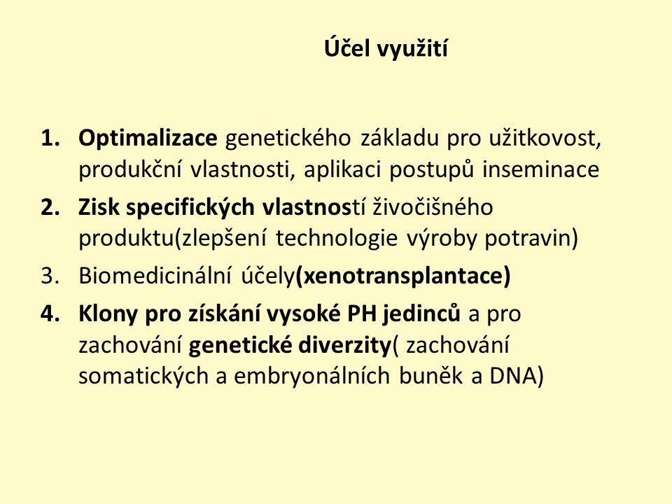 Cíl = zvýšení užitkovosti na základě genové manipulace a genového inženýrství -Vyšší frekvence využití samčích a samičích buněk -Výměna genetického materiálu prostřednictvím zmrazeného spermatu a embryí -Realizace hygienických programů užitím inseminace a přenosu embryí -Zvýšení genetického pokroku šlechtitelskými programy -Zlepšení živočišných produktů