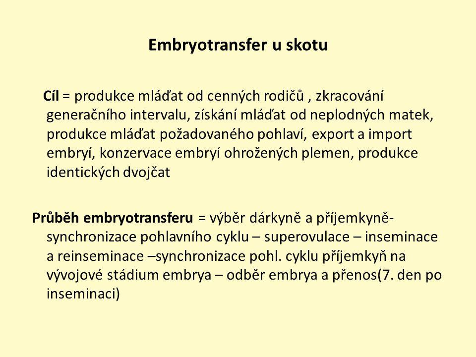 Synchronizace-superovulace- inseminace • Synchronizace cyklu – (regrese žlutého tělíska a nástup folikulární fáze) použití syntetických steroidních hormonů - prostaglandiny(injekčně, v krmné dávce, kožním implantátem)= za 48 – 72 hodin říje • Superovulace (umělé zvýšení hladiny gonadotropinů v těle= zvýšení růstu folikulů a jejich ovulace) -Gonadotropin ze séra březích klisen (PMSG) v 1 dávce nebo FSH(2x denně po dobu 4 – 5 dnů) -Injekční podávání v období mezi 8.