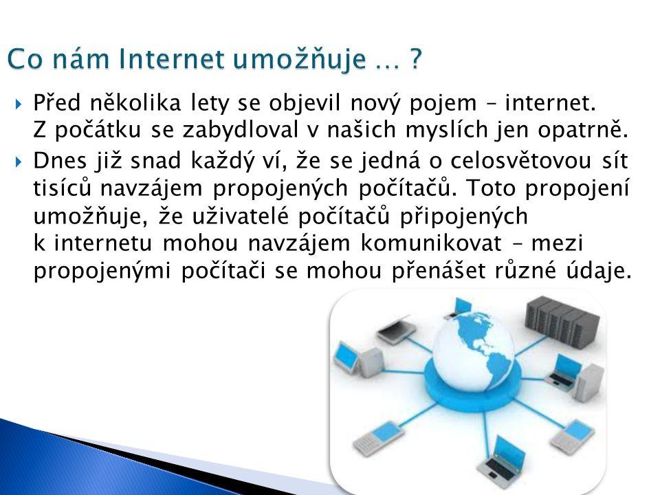  Před několika lety se objevil nový pojem – internet.