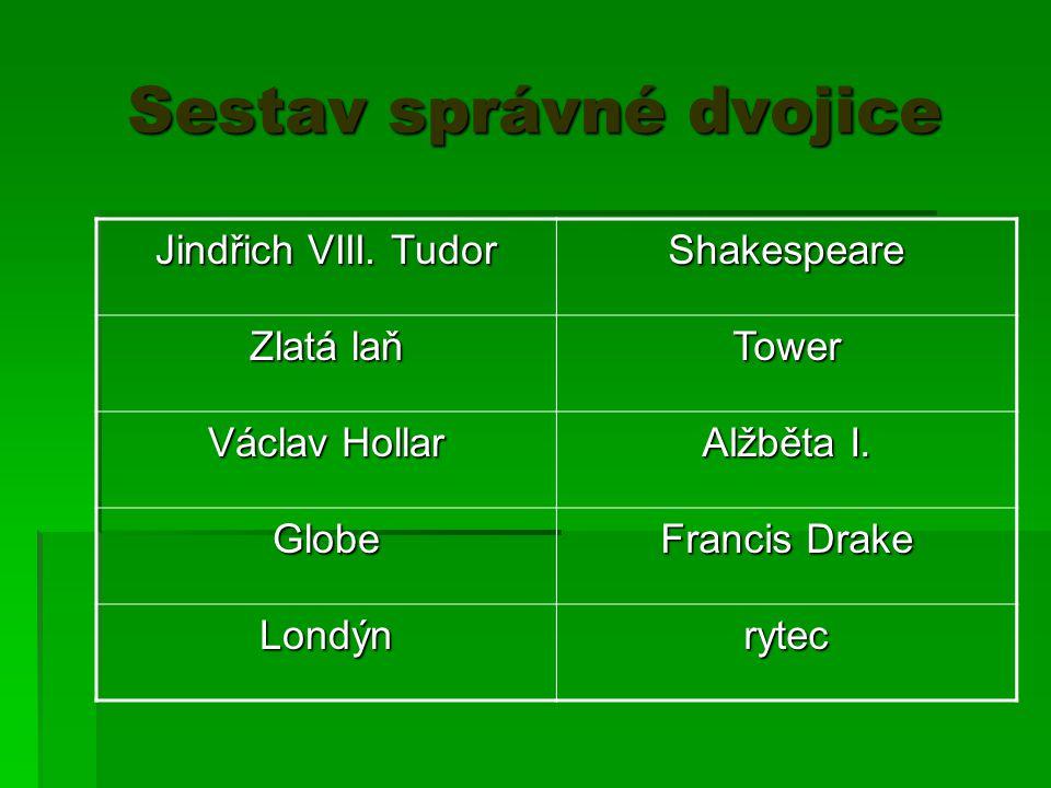 Sestav správné dvojice Jindřich VIII. Tudor Shakespeare Zlatá laň Tower Václav Hollar Alžběta I. Globe Francis Drake Londýnrytec