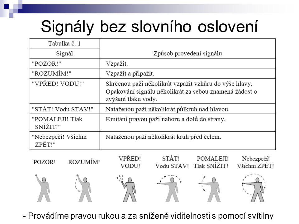Signály bez slovního oslovení - Provádíme pravou rukou a za snížené viditelnosti s pomocí svítilny
