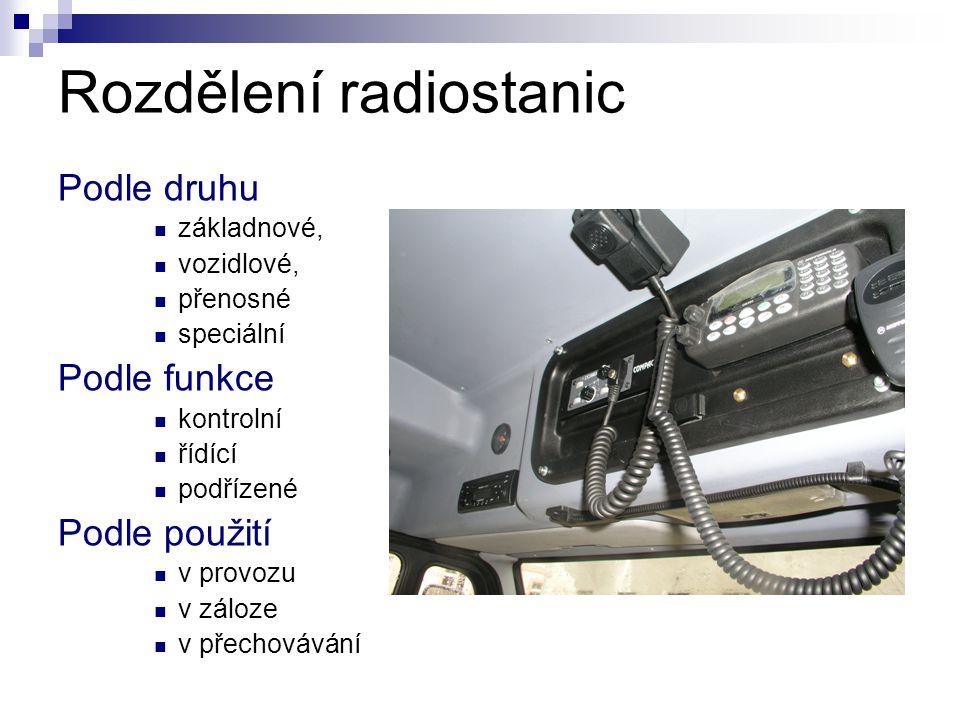 Rozdělení radiostanic Podle druhu  základnové,  vozidlové,  přenosné  speciální Podle funkce  kontrolní  řídící  podřízené Podle použití  v pr