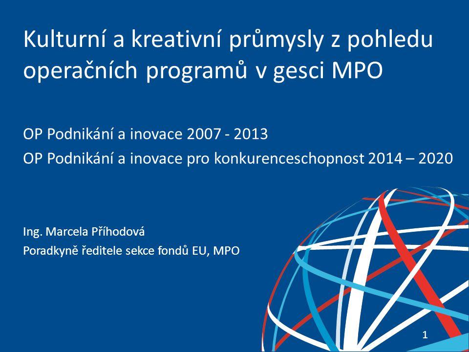 Kulturní a kreativní průmysly z pohledu operačních programů v gesci MPO 11 OP Podnikání a inovace 2007 - 2013 OP Podnikání a inovace pro konkurenceschopnost 2014 – 2020 Ing.