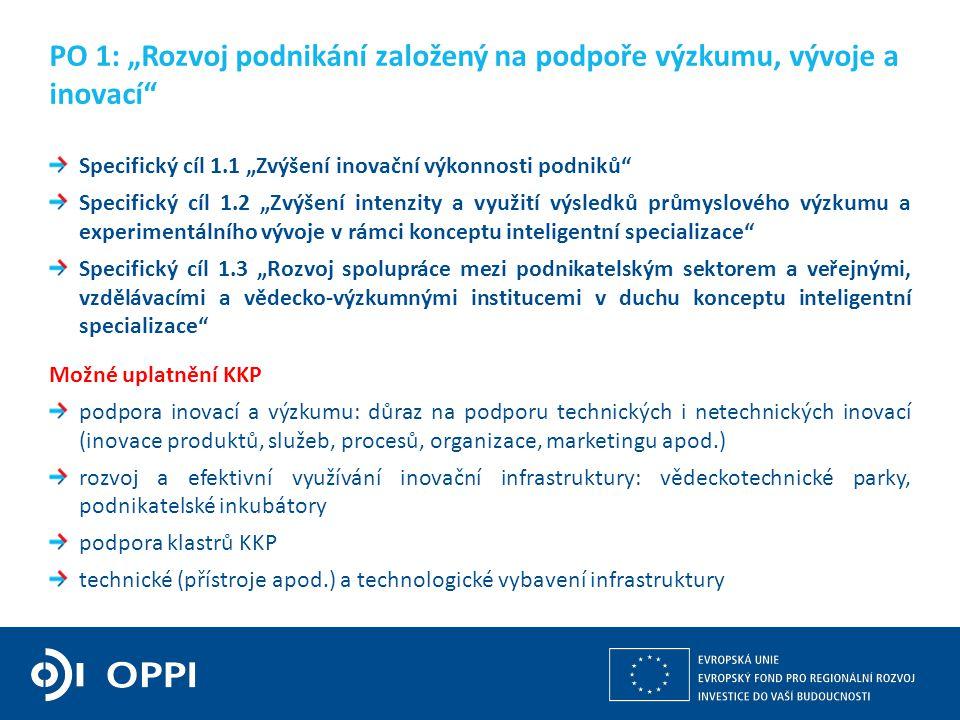 """10 Specifický cíl 1.1 """"Zvýšení inovační výkonnosti podniků Specifický cíl 1.2 """"Zvýšení intenzity a využití výsledků průmyslového výzkumu a experimentálního vývoje v rámci konceptu inteligentní specializace Specifický cíl 1.3 """"Rozvoj spolupráce mezi podnikatelským sektorem a veřejnými, vzdělávacími a vědecko-výzkumnými institucemi v duchu konceptu inteligentní specializace Možné uplatnění KKP podpora inovací a výzkumu: důraz na podporu technických i netechnických inovací (inovace produktů, služeb, procesů, organizace, marketingu apod.) rozvoj a efektivní využívání inovační infrastruktury: vědeckotechnické parky, podnikatelské inkubátory podpora klastrů KKP technické (přístroje apod.) a technologické vybavení infrastruktury PO 1: """"Rozvoj podnikání založený na podpoře výzkumu, vývoje a inovací"""
