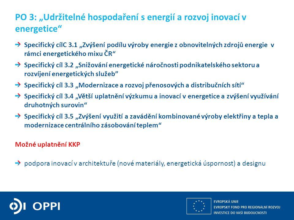 """Kulturní a kreativní průmysly z pohledu operačních programů v gesci MPO 12 Specifický cílC 3.1 """"Zvýšení podílu výroby energie z obnovitelných zdrojů energie v rámci energetického mixu ČR Specifický cíl 3.2 """"Snižování energetické náročnosti podnikatelského sektoru a rozvíjení energetických služeb Specifický cíl 3.3 """"Modernizace a rozvoj přenosových a distribučních sítí Specifický cíl 3.4 """"Větší uplatnění výzkumu a inovací v energetice a zvýšení využívání druhotných surovin Specifický cíl 3.5 """"Zvýšení využití a zavádění kombinované výroby elektřiny a tepla a modernizace centrálního zásobování teplem Možné uplatnění KKP podpora inovací v architektuře (nové materiály, energetická úspornost) a designu PO 3: """"Udržitelné hospodaření s energií a rozvoj inovací v energetice"""