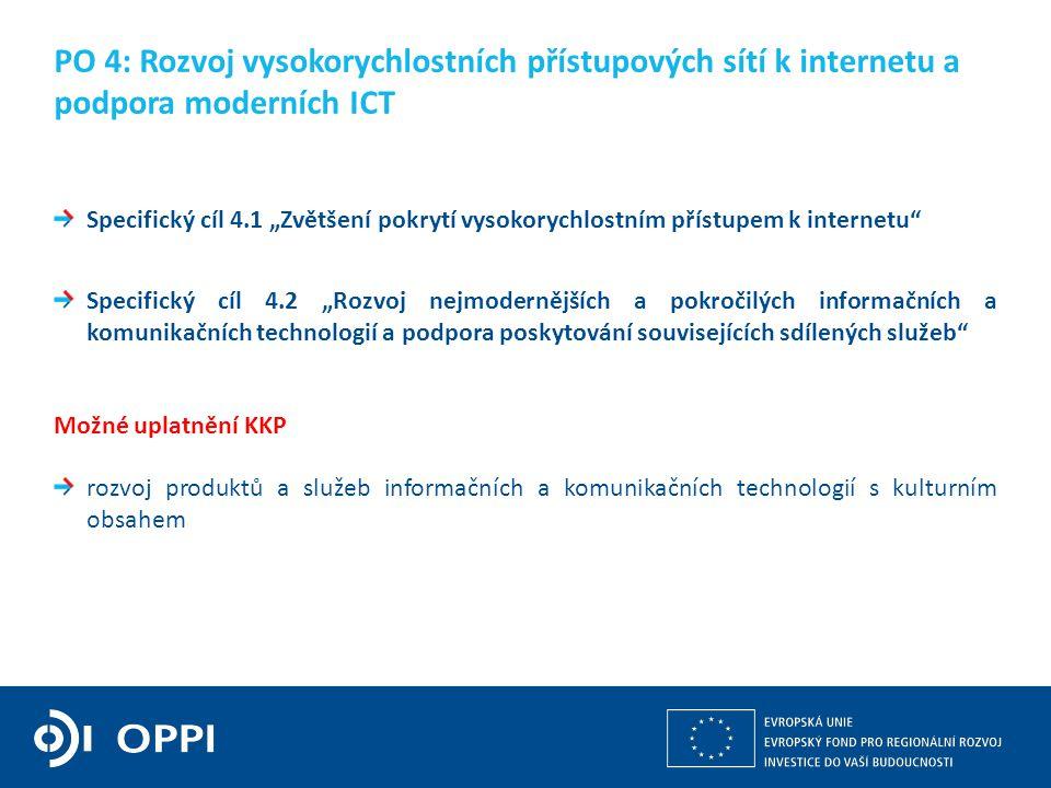 """Kulturní a kreativní průmysly z pohledu operačních programů v gesci MPO 13 Specifický cíl 4.1 """"Zvětšení pokrytí vysokorychlostním přístupem k internetu Specifický cíl 4.2 """"Rozvoj nejmodernějších a pokročilých informačních a komunikačních technologií a podpora poskytování souvisejících sdílených služeb Možné uplatnění KKP rozvoj produktů a služeb informačních a komunikačních technologií s kulturním obsahem PO 4: Rozvoj vysokorychlostních přístupových sítí k internetu a podpora moderních ICT"""