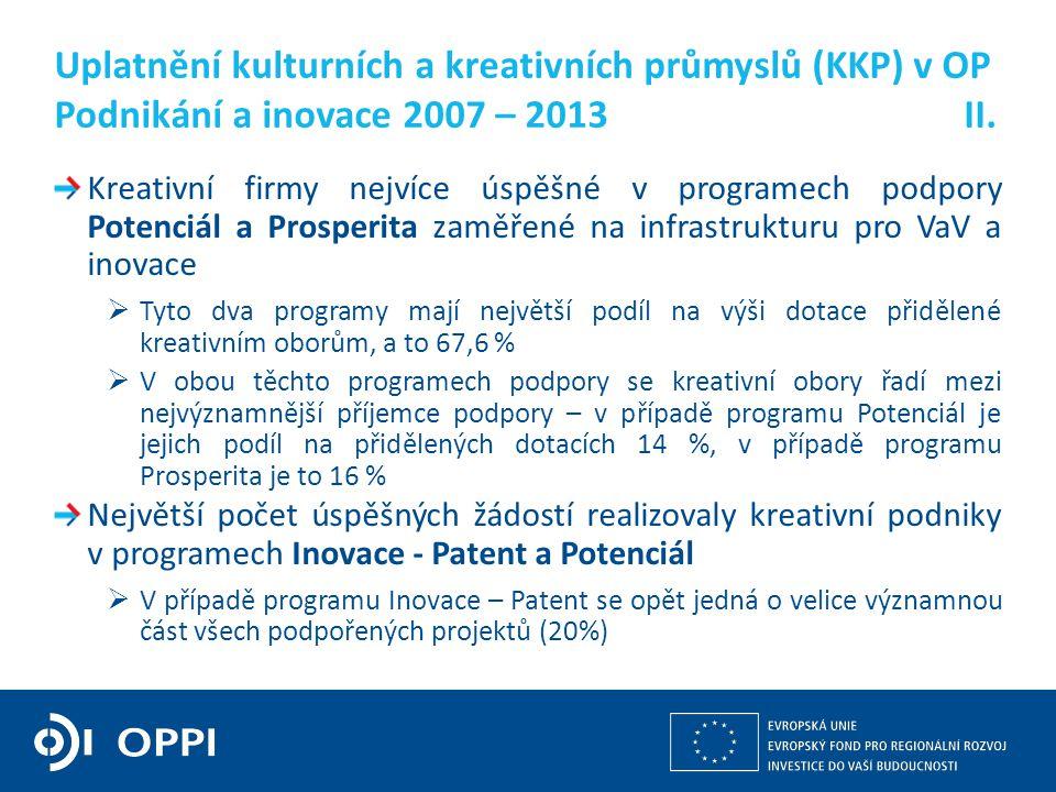 Kulturní a kreativní průmysly z pohledu operačních programů v gesci MPO 4 Kreativní firmy nejvíce úspěšné v programech podpory Potenciál a Prosperita