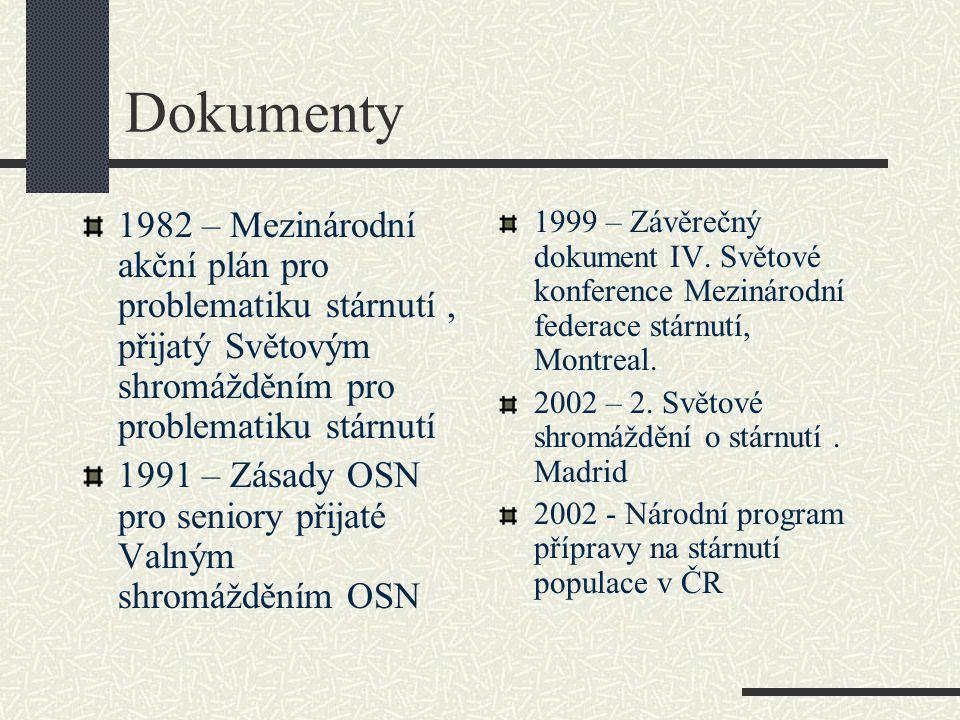 Dokumenty 1982 – Mezinárodní akční plán pro problematiku stárnutí, přijatý Světovým shromážděním pro problematiku stárnutí 1991 – Zásady OSN pro seniory přijaté Valným shromážděním OSN 1999 – Závěrečný dokument IV.