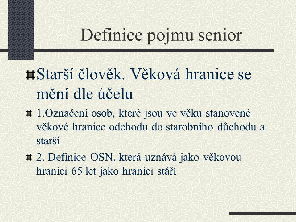 Definice pojmu senior Starší člověk.