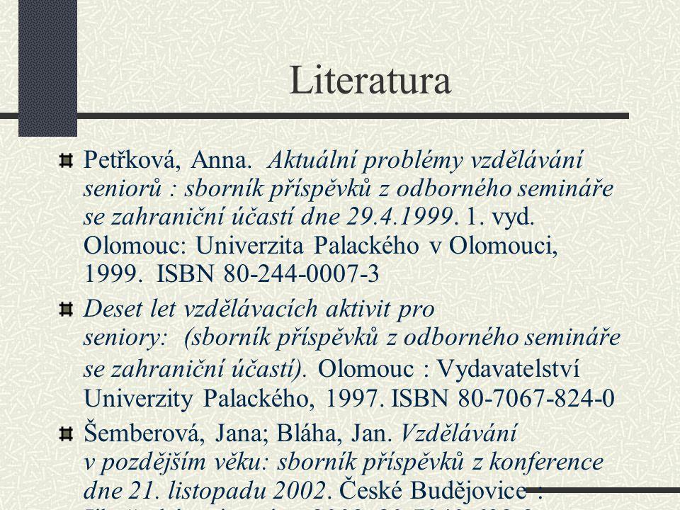 Literatura Petřková, Anna.