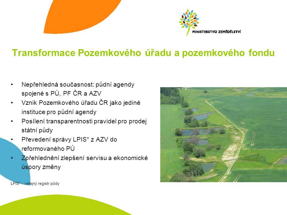 Transformace Pozemkového úřadu a pozemkového fondu •Nepřehledná současnost: půdní agendy spojené s PÚ, PF ČR a AZV •Vznik Pozemkového úřadu ČR jako je