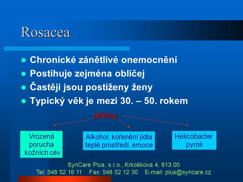Kuperóza v kosmetické praxi  není choroba, pouze projev  bývá součástí rosacei SynCare Plus, s.r.o., Krkoškova 4, 613 00 Tel: 548 52 16 11 Fax: 548
