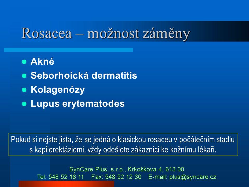 Rosacea – zhoršující faktory  Teplo (kuchařky, sauna, solárium)  UV záření (opalování, solárium)  Steroidy – možný přechod v p.d.  Zvýšená konzuma