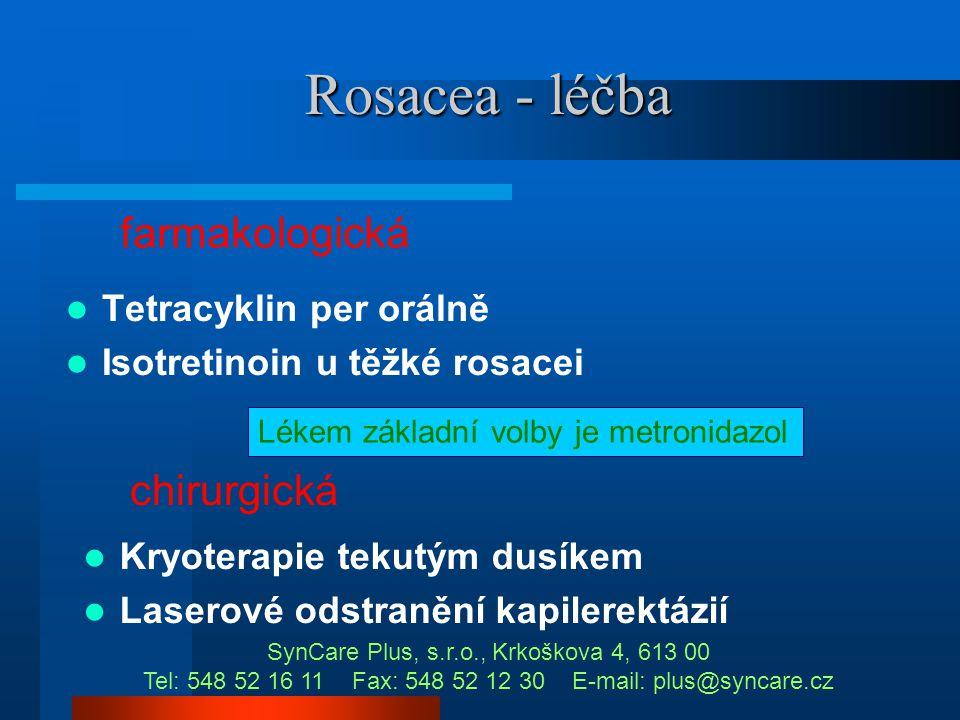 Rosacea – možnost záměny  Akné  Seborhoická dermatitis  Kolagenózy  Lupus erytematodes Pokud si nejste jista, že se jedná o klasickou rosaceu v po