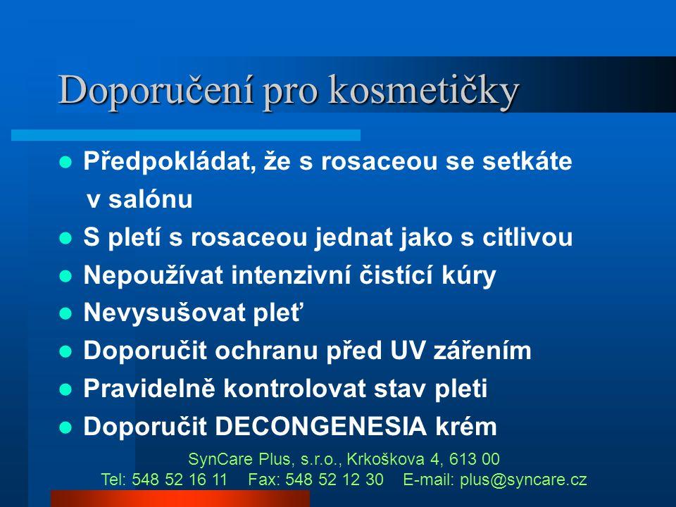 Rosacea - léčba  Tetracyklin per orálně  Isotretinoin u těžké rosacei Lékem základní volby je metronidazol SynCare Plus, s.r.o., Krkoškova 4, 613 00