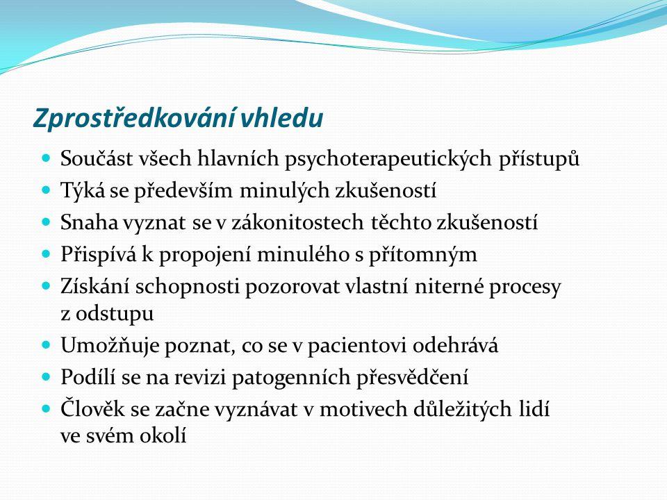 Zprostředkování vhledu  Součást všech hlavních psychoterapeutických přístupů  Týká se především minulých zkušeností  Snaha vyznat se v zákonitostec