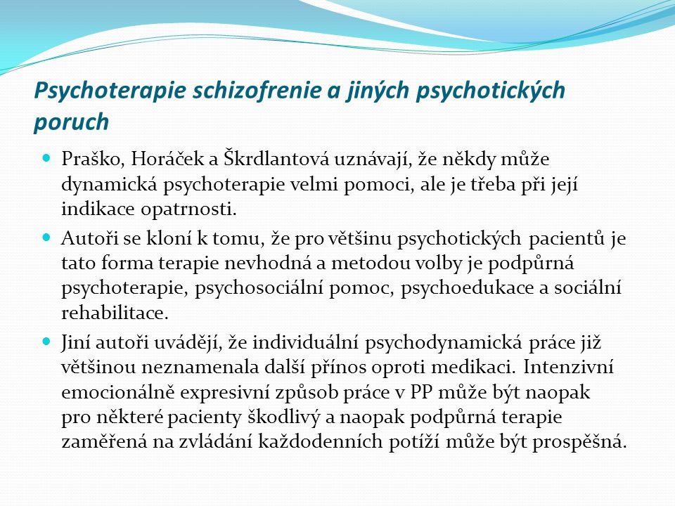 Psychoterapie schizofrenie a jiných psychotických poruch  Praško, Horáček a Škrdlantová uznávají, že někdy může dynamická psychoterapie velmi pomoci,