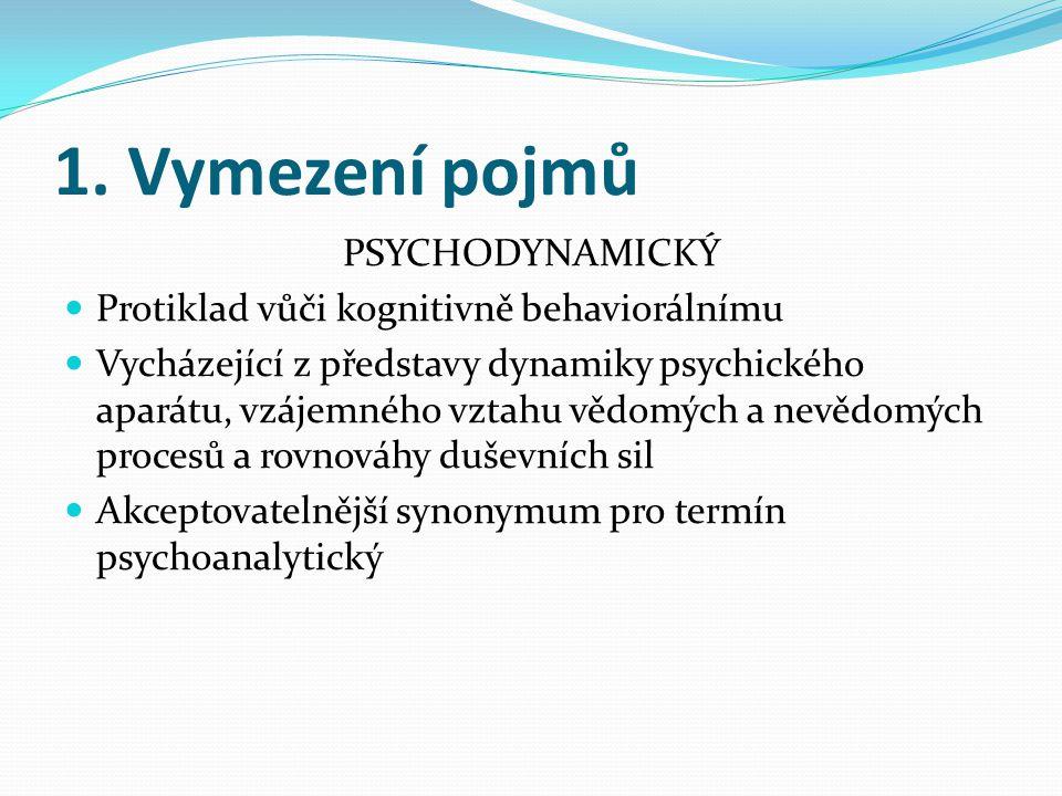 1. Vymezení pojmů PSYCHODYNAMICKÝ  Protiklad vůči kognitivně behaviorálnímu  Vycházející z představy dynamiky psychického aparátu, vzájemného vztahu