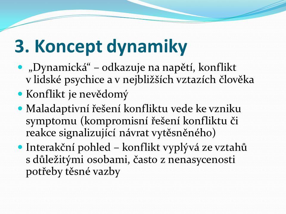 """3. Koncept dynamiky  """"Dynamická"""" – odkazuje na napětí, konflikt v lidské psychice a v nejbližších vztazích člověka  Konflikt je nevědomý  Maladapti"""